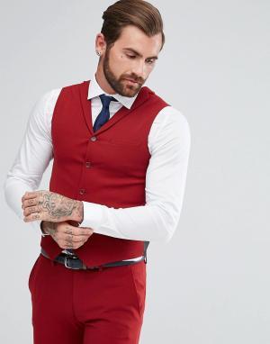 ASOS Красный приталенный жилет. Цвет: красный