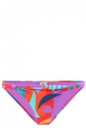 Плавки-бикини с ярким принтом и драпировкой Lazul. Цвет: разноцветный