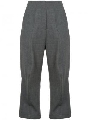 Широкие укороченные брюки Mm6 Maison Margiela. Цвет: серый
