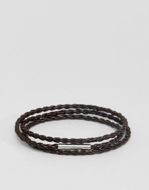 Seven London Коричневый плетеный кожаный браслет. Цвет: коричневый