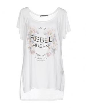 Футболка REBEL QUEEN. Цвет: белый