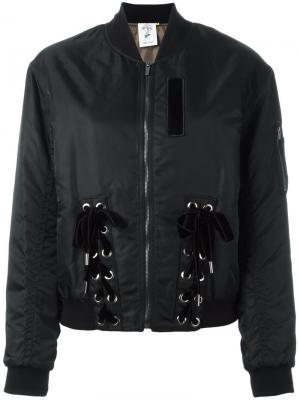 Куртка-бомбер с завязками Steve J & Yoni P. Цвет: чёрный