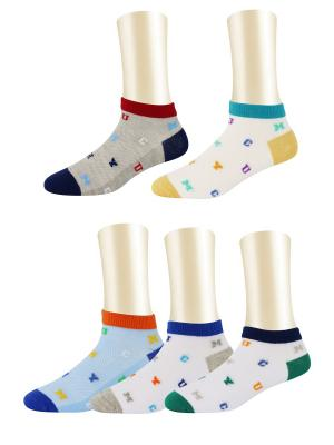 Носки, 5 пар Glamuriki. Цвет: голубой, белый, красный
