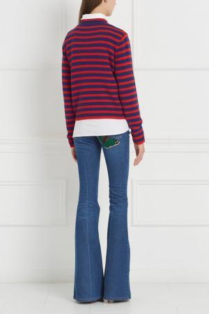 Синие расклешенные джинсы с вышивкой Gucci. Цвет: синий