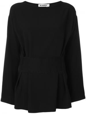 Блузка с присборенной деталью Jil Sander. Цвет: чёрный