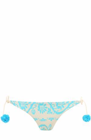 Плавки-бикини с принтом и бантами Heidi Klein. Цвет: голубой