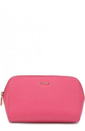 Набор косметичек из тисненой сафьяновой кожи Electra Furla. Цвет: розовый
