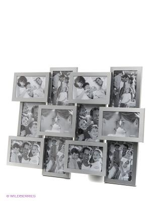 Фоторамка на 12 фото, формата 10x15 см PLATINUM quality. Цвет: серебристый