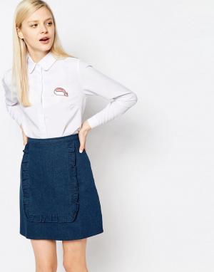 The WhitePepper Рубашка с круглым воротником и накладкой. Цвет: белый