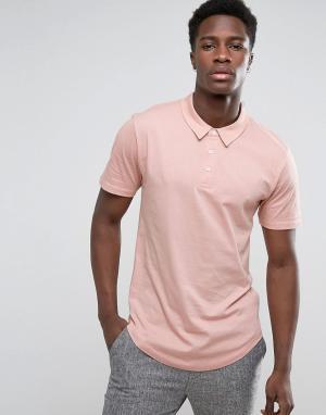 Troy Трикотажная футболка-поло с закругленным низом. Цвет: розовый