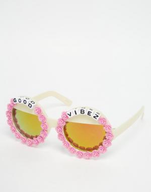 RAD + REFINED Круглые солнцезащитные очки с зеркальными стеклами. Цвет: розовый
