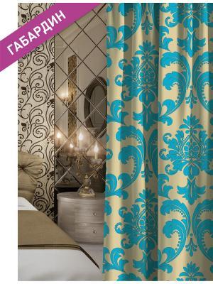 Штора (1шт.) Волшебная ночь 150см*270см, ткань-Габардин,  стиль-ВЕРСАЛЬ, VENSEN. Цвет: бежевый, голубой