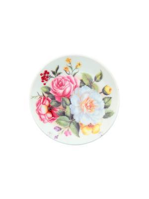 Тарелка декоративная Букет с розами Elan Gallery. Цвет: белый, зеленый, розовый