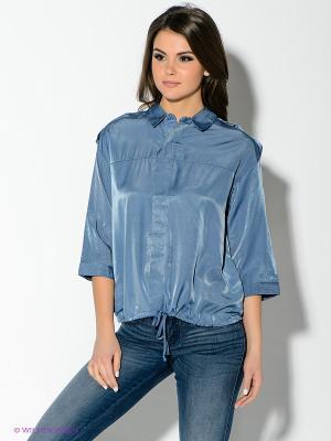 Блузка Oodji. Цвет: серо-голубой