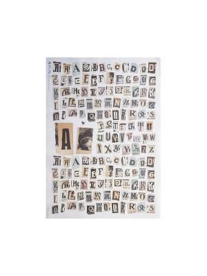 Декупажная карта 32*45 буквы ретро Idigo. Цвет: сиреневый, прозрачный