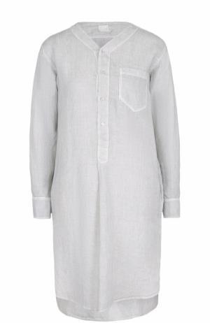 Льняное платье с удлиненной спинкой 120% Lino. Цвет: светло-серый