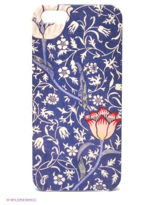 Чехол для IPhone 5 Тюльпан на синем Mitya Veselkov. Цвет: синий, красный