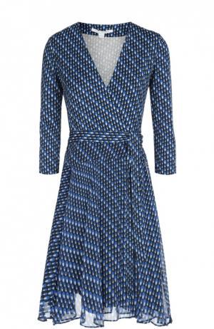 Платье с запахом Irina из эластичного шелка и шифона Diane Von Furstenberg. Цвет: синий