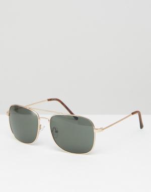 Jeepers Peepers Золотистые солнцезащитные очки‑авиаторы. Цвет: золотой