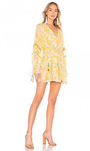 Мини платье clarion HEMANT AND NANDITA. Цвет: желтый