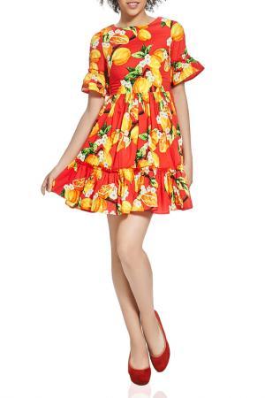 Полуприлегающее платье с цветочным принтом Nothing but Love. Цвет: красный, желто-оранжевый