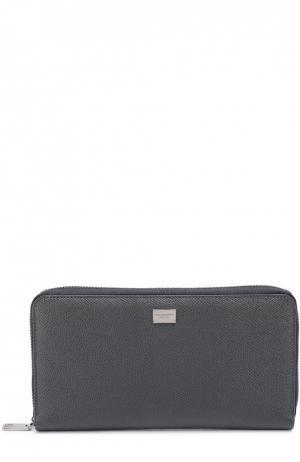 Кожаное портмоне на молнии с отделением для кредитных карт Dolce & Gabbana. Цвет: темно-серый
