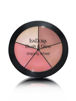 Палетка румян и хайлайтеров BLUSH & GLOW draping wheel 55, 18 гр ISADORA. Цвет: светло-коричневый, бледно-розовый, розовый