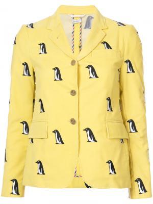 Пиджак с принтом пингвинов Thom Browne. Цвет: жёлтый и оранжевый