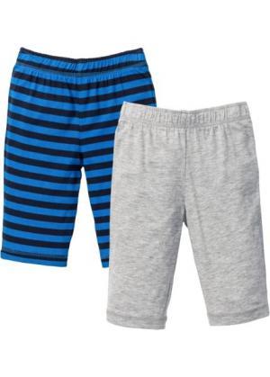 Трикотажные брюки для малышей (2 шт.) из биохлопка (темно-синий/лазурный в полоску /светло-серый меланж) bonprix. Цвет: темно-синий/лазурный в полоску /светло-серый меланж