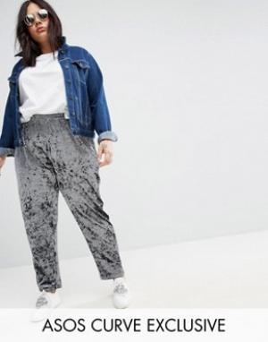 ASOS Curve Бархатные брюки галифе без застежки. Цвет: синий