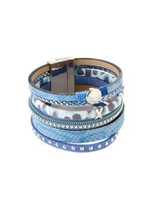 Браслет из эко-кожи BE30 Raganella Princess. Цвет: голубой, серебристый, синий