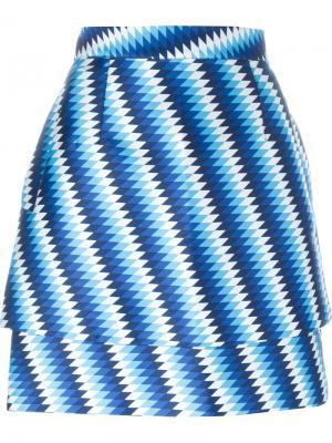 Юбка А-образного кроя  с принтом House Of Holland. Цвет: синий