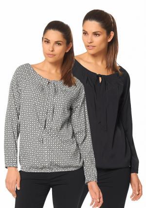 Блузка, 2 штуки BRUNO BANANI. Цвет: дымчато-розовый с рисунком+черный, черный/белый с рисунком+белый