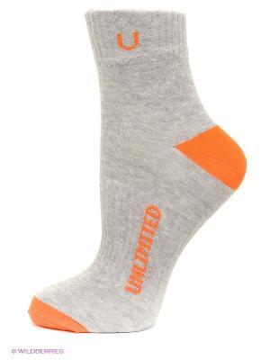 Носки, 5 пар Unlimited. Цвет: серый меланж, оранжевый
