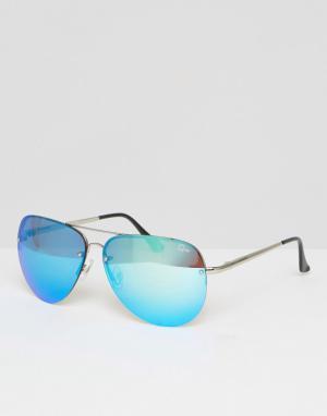 Quay Australia Большие очки-авиаторы с синими зеркальными стеклами Mus. Цвет: синий