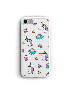 Чехол для iPhone 7/8 Tumblr единороги Boom Case. Цвет: светло-голубой, белый, фиолетовый