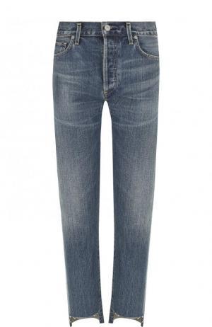 Укороченные джинсы с потертостями Citizens Of Humanity. Цвет: голубой
