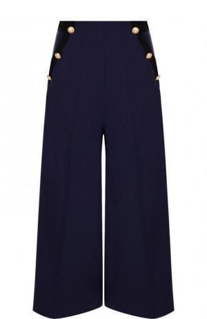 Укороченные расклешенные брюки из шерсти Lanvin. Цвет: темно-синий