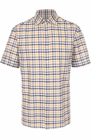 Хлопковая рубашка с короткими рукавами Brioni. Цвет: желтый