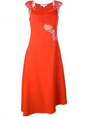 Платье с элементом макраме Jonathan Simkhai. Цвет: красный