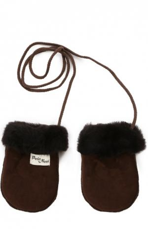 Кожаные варежки с отделкой мехом Petit Nord. Цвет: коричневый