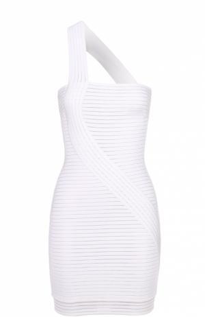 Облегающее мини-платье с фактурной отделкой Herve L.Leroux. Цвет: белый