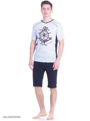 Костюм мужской(футболка, шорты) MARSOFINA. Цвет: голубой, черный