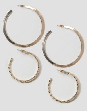 ASOS Набор из 2 пар сережек-колец 56 мм и 36. Цвет: золотой