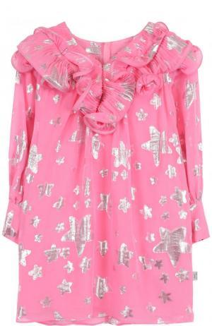 Шелковое мини-платье с оборками и металлизированным принтом Marc Jacobs. Цвет: розовый
