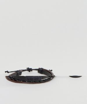 ASOS Набор из браслета и кольца черного цвета. Цвет: черный