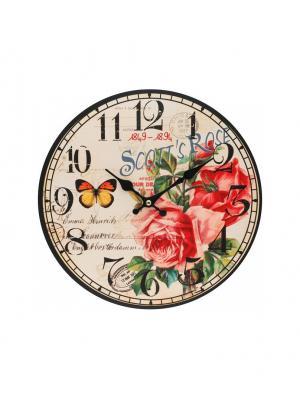 Часы настенные Розовый куст, диаметр 34 см (126-CL) Белоснежка. Цвет: бледно-розовый, антрацитовый, темно-красный