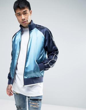 ASOS Синяя куртка на молнии со вставками. Цвет: синий
