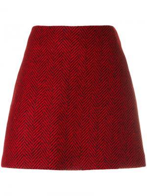 Прямая юбка с узором шеврон Ultràchic. Цвет: красный