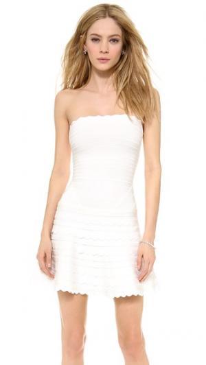 Платье Phoebe без бретелек Herve Leger. Цвет: алебастровый